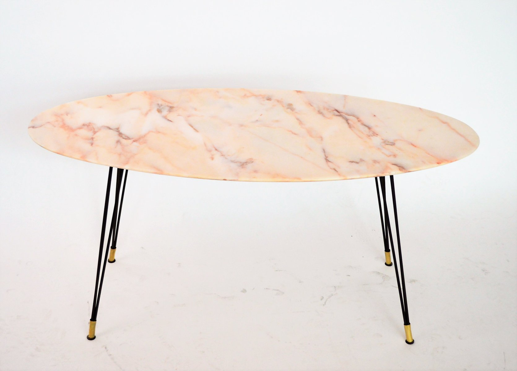 Oval Italian Marble Coffee Table 1950s for sale at Pamono