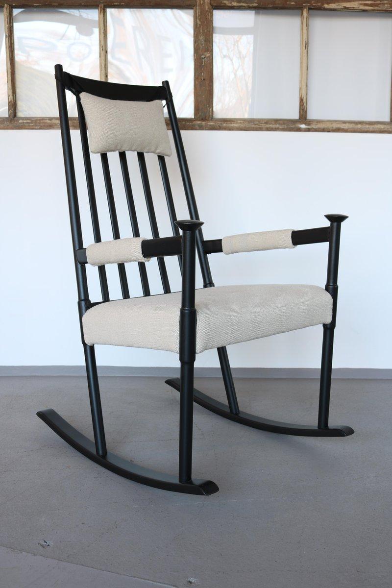 Scandinavian Black Painted Rocking Chair, 1960s