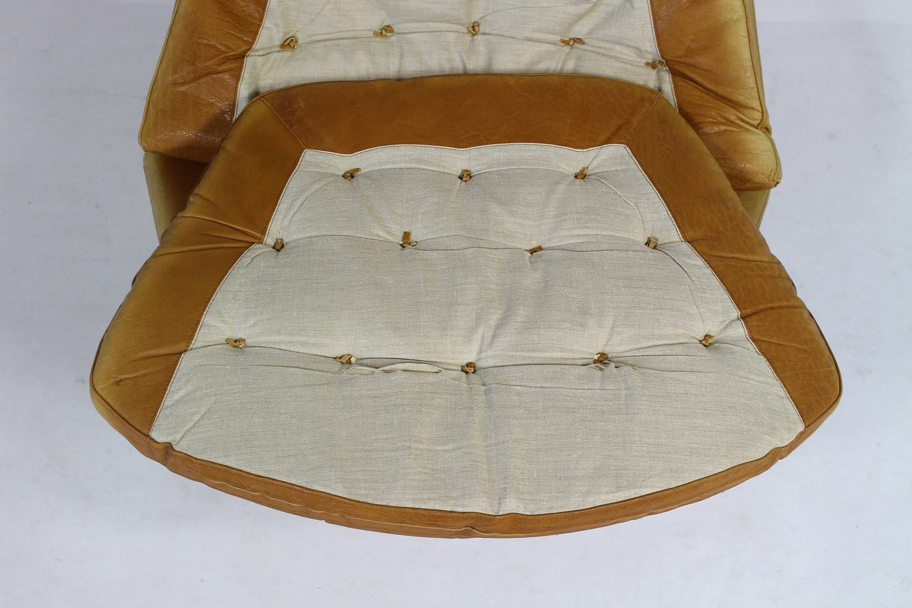 vintage ledersessel ottoman von madsen schubell f r. Black Bedroom Furniture Sets. Home Design Ideas