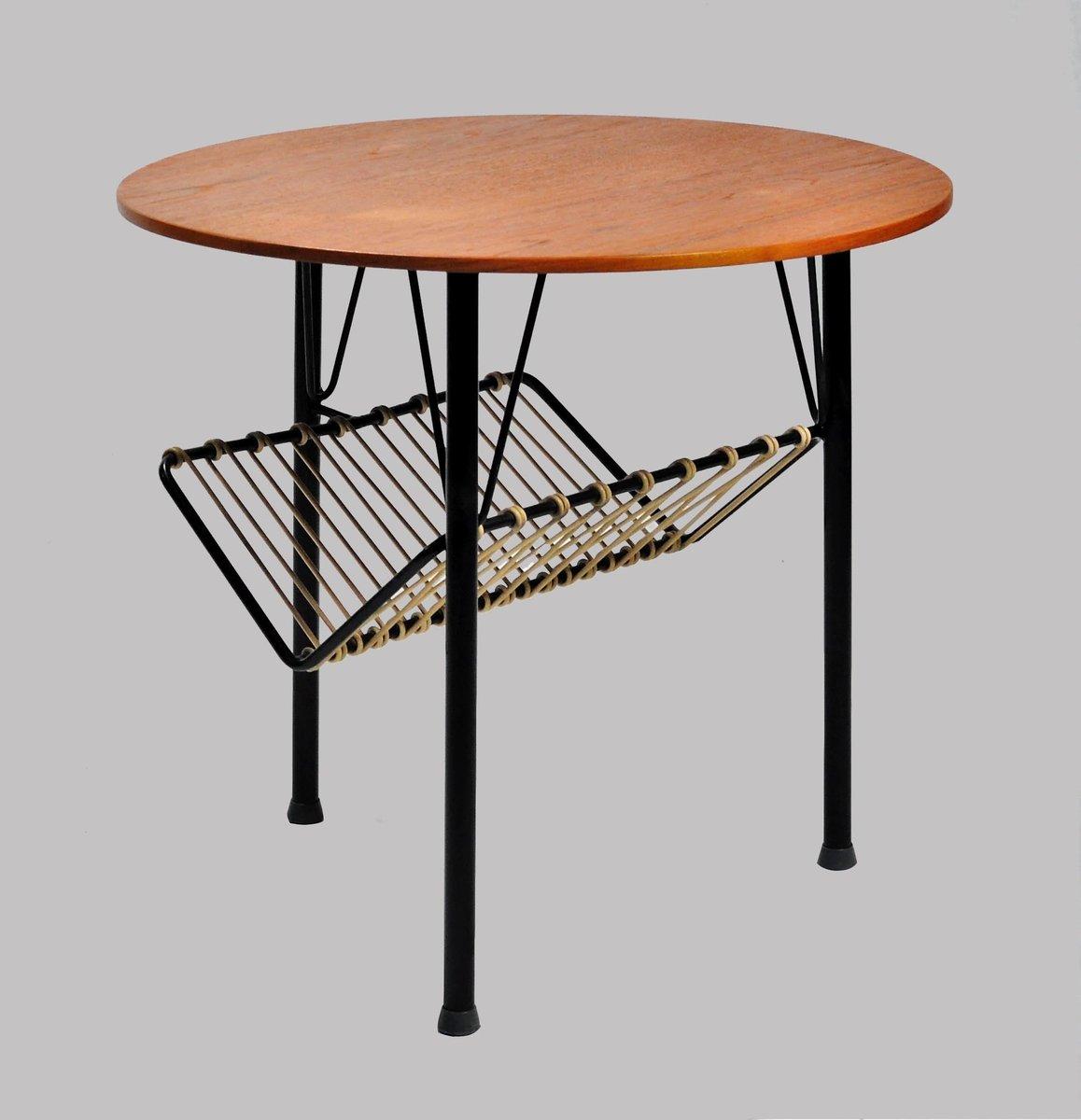 d nischer beistelltisch aus teak schwarzem metall. Black Bedroom Furniture Sets. Home Design Ideas