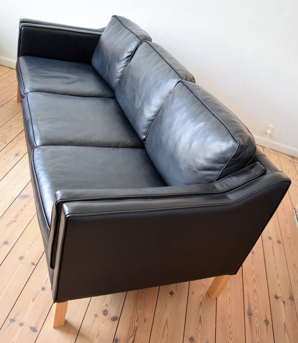 schwarzes 3 sitzer ledersofa von b rge mogensen 1960er. Black Bedroom Furniture Sets. Home Design Ideas