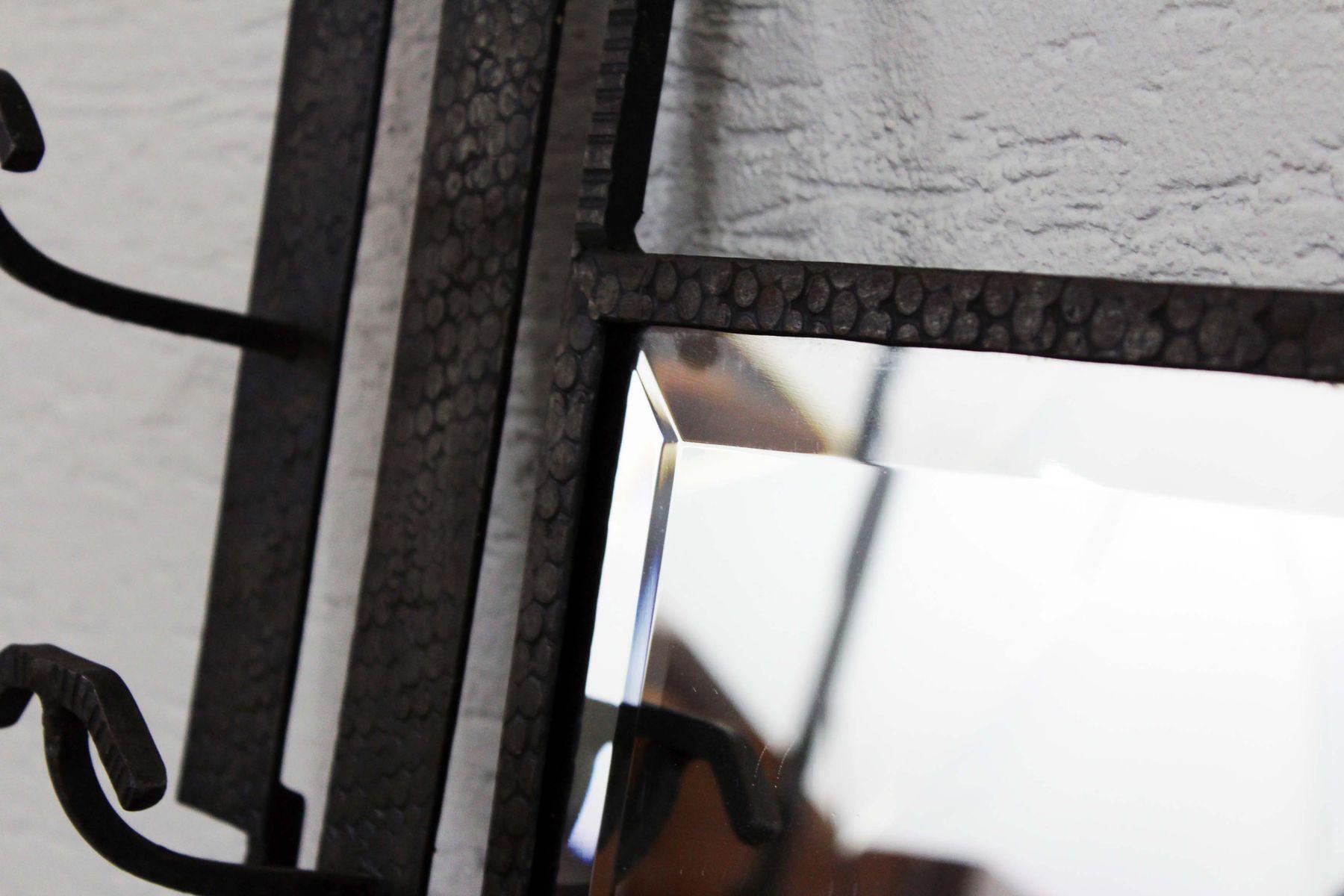 Portemanteau style art d co vintage en fer forg avec for Miroir en fer forge