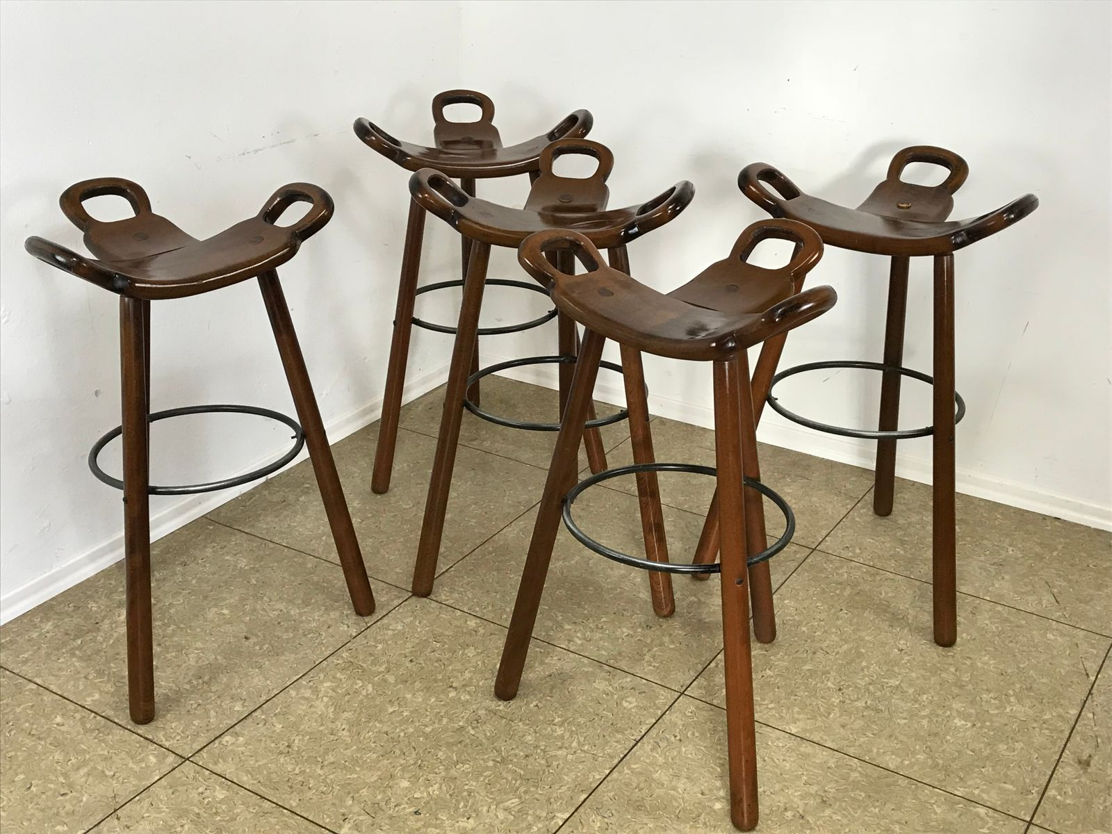 Mid Century Swedish Barstools 1950s Set Of 5 For Sale At