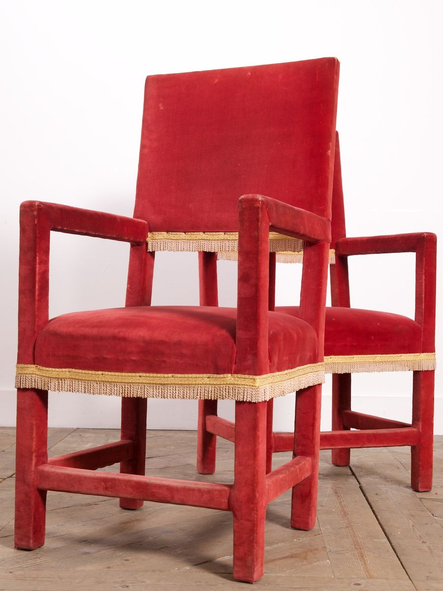 Antique Red Velvet Dining Chairs, Set Of 4