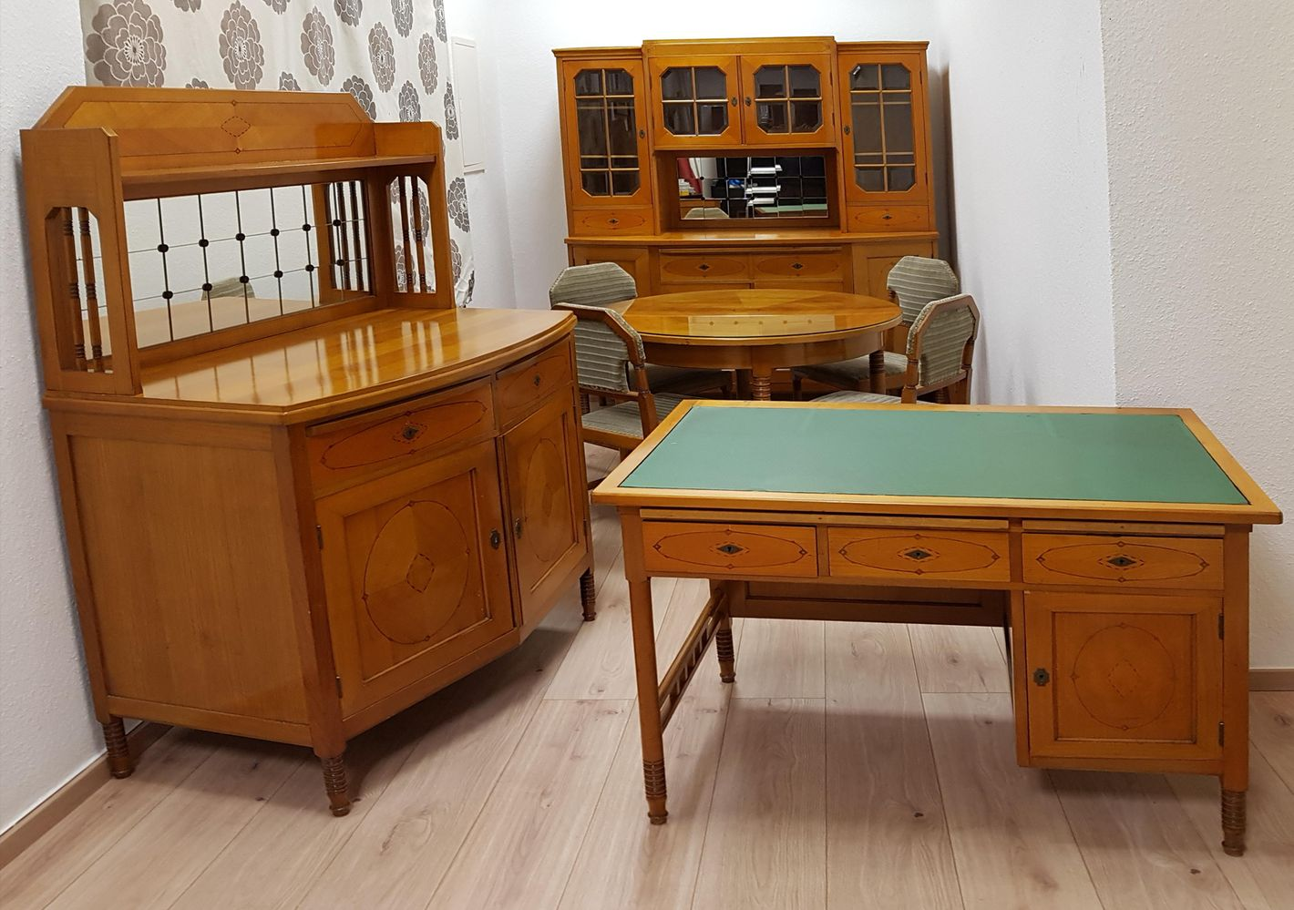 Antique Cherry Wood Dining Room Set for sale at Pamono