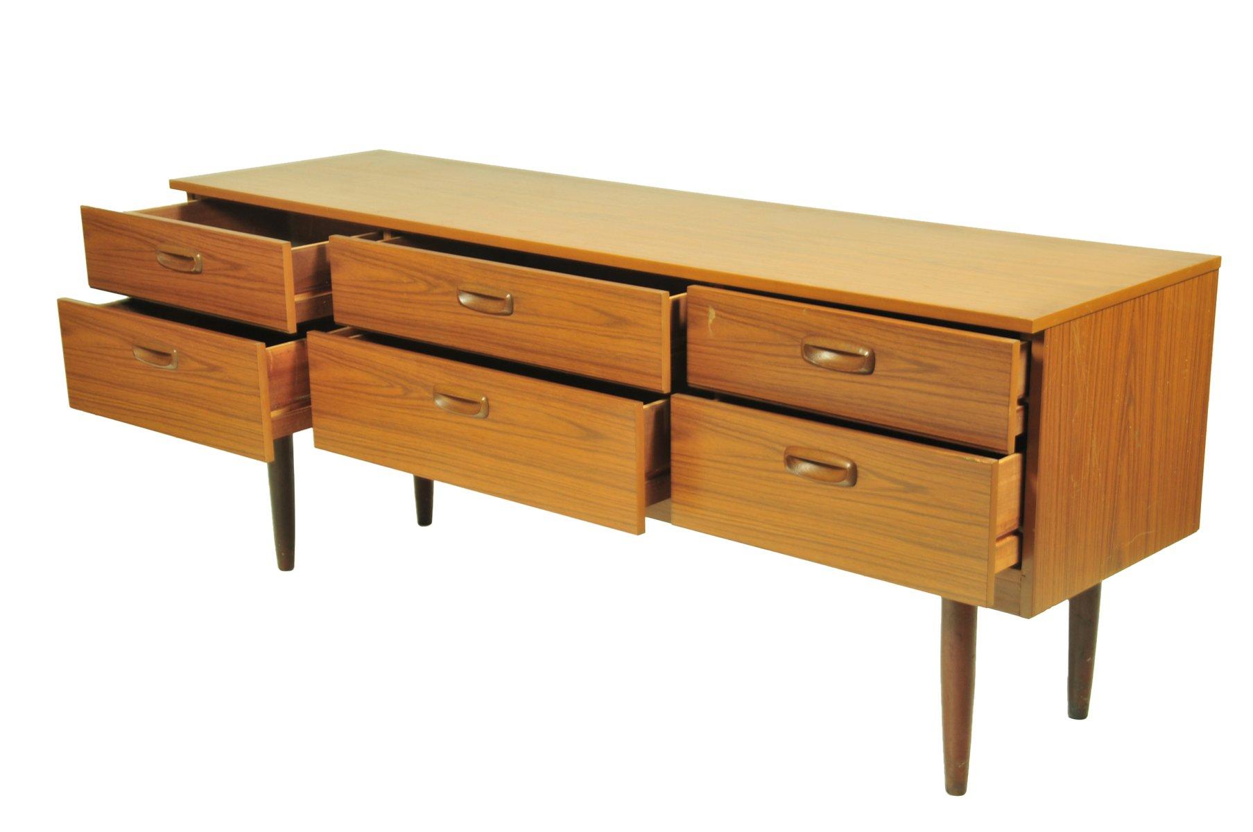 vintage sideboard oder kommode mit 6 gro en schubladen bei. Black Bedroom Furniture Sets. Home Design Ideas