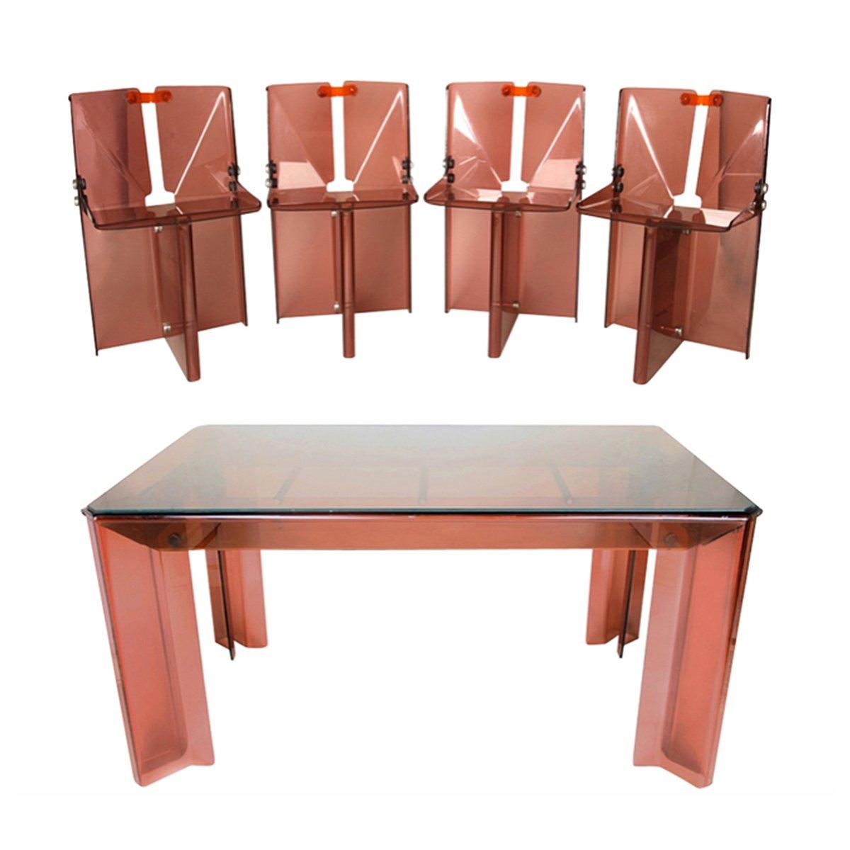 vintage rauchglas perspex esstisch st hle bei pamono kaufen. Black Bedroom Furniture Sets. Home Design Ideas