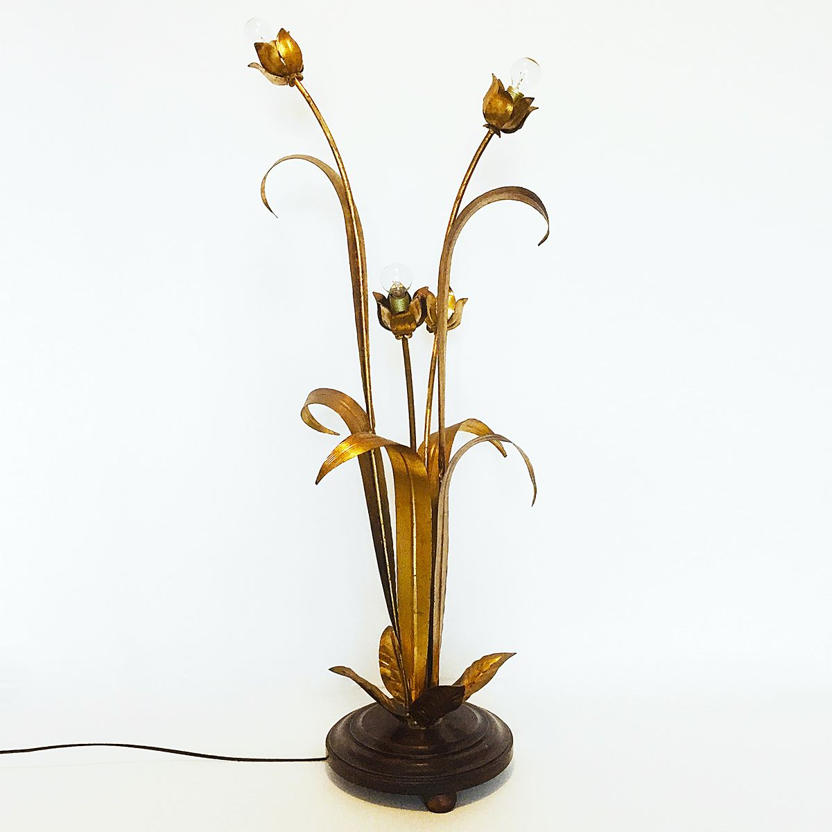 Gilded Flower Leaf Floor Lamp, 1960s for sale at Pamono
