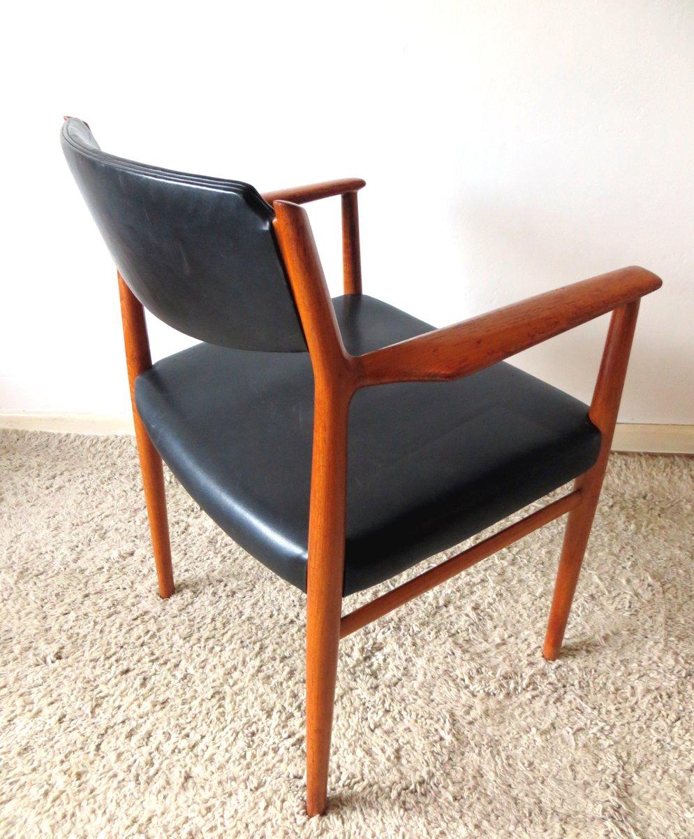 danish vintage model 418 teak leather armchair by arne