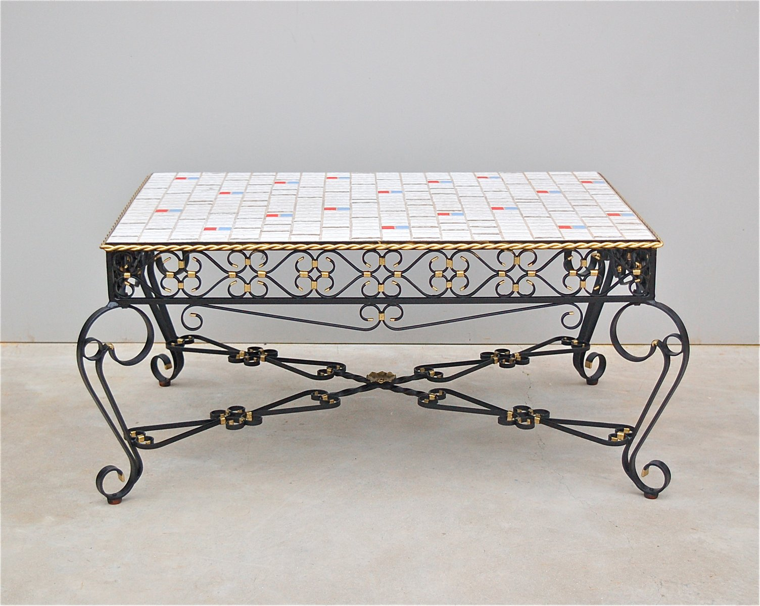 Wrought metal ceramic tile coffee table 1971 for sale at pamono wrought metal ceramic tile coffee table 1971 dailygadgetfo Gallery