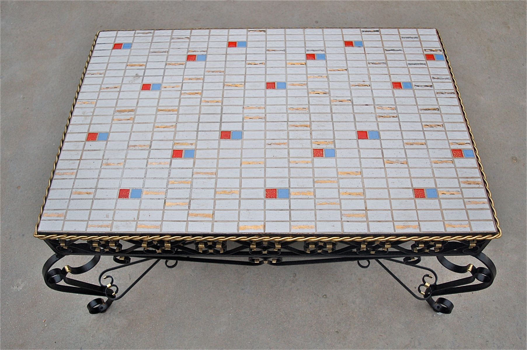 Wrought metal ceramic tile coffee table 1971 for sale at pamono price per piece dailygadgetfo Gallery