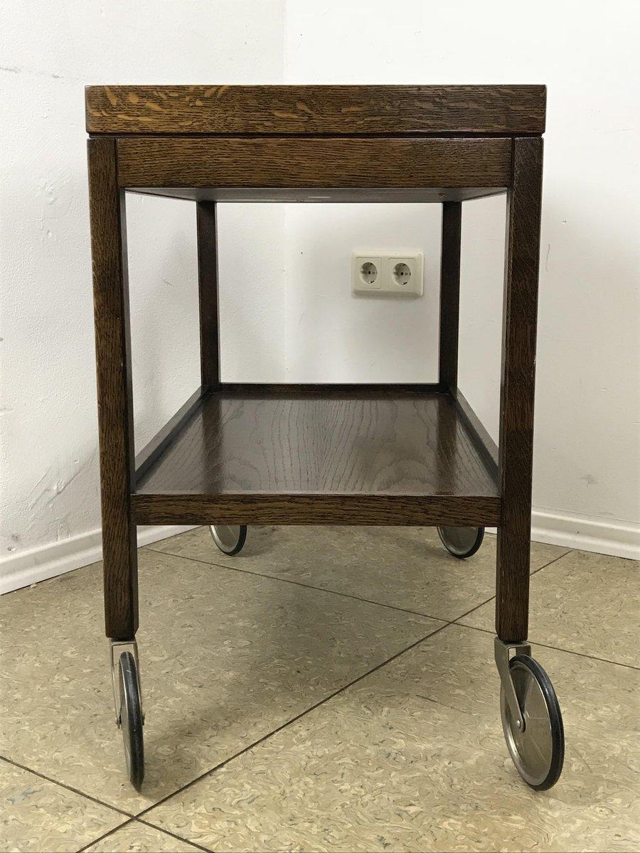 vintage servierwagen aus dunkler eiche von wilhelm renz. Black Bedroom Furniture Sets. Home Design Ideas