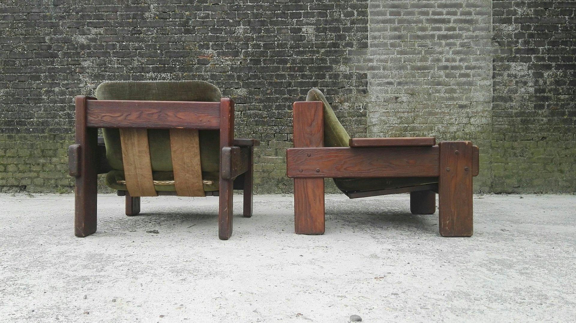 vintage sessel aus kiefernholz 2er set bei pamono kaufen. Black Bedroom Furniture Sets. Home Design Ideas