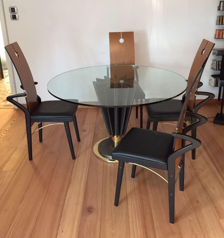 esstisch 4 st hle set von pierre cardin 1970er bei. Black Bedroom Furniture Sets. Home Design Ideas