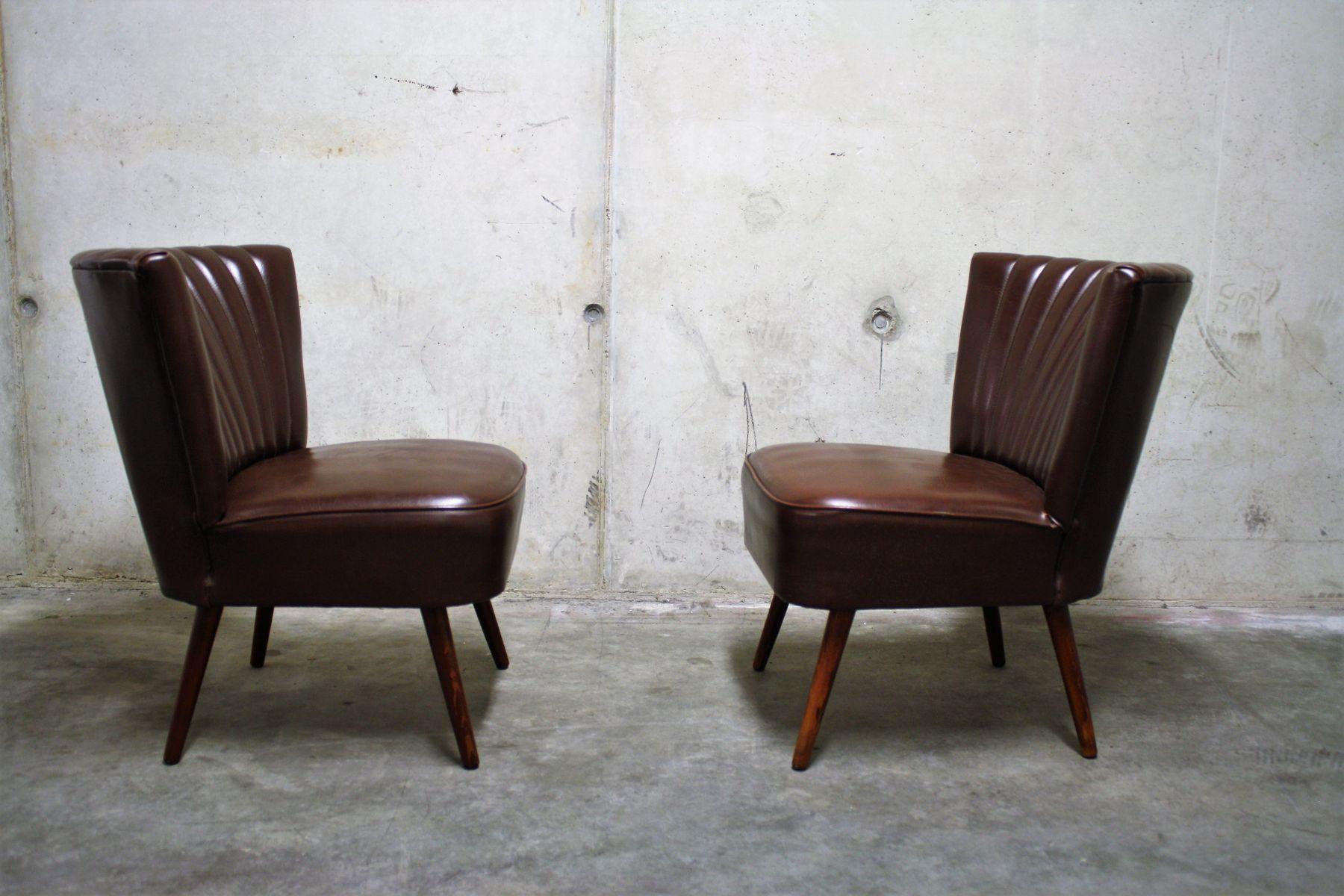 braune cocktail sessel aus kunstleder 1960er set of 2. Black Bedroom Furniture Sets. Home Design Ideas