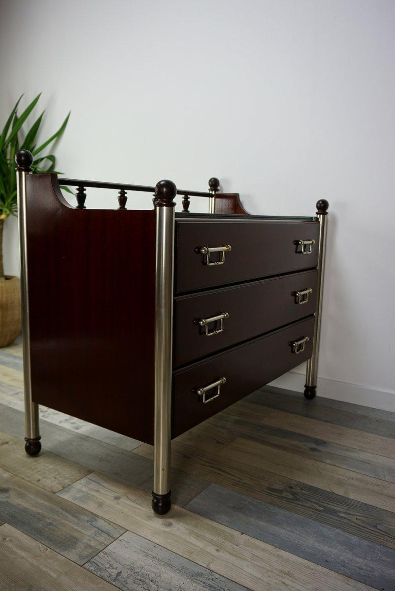vintage holz kommode aus metall und glas von gautier bei pamono kaufen. Black Bedroom Furniture Sets. Home Design Ideas
