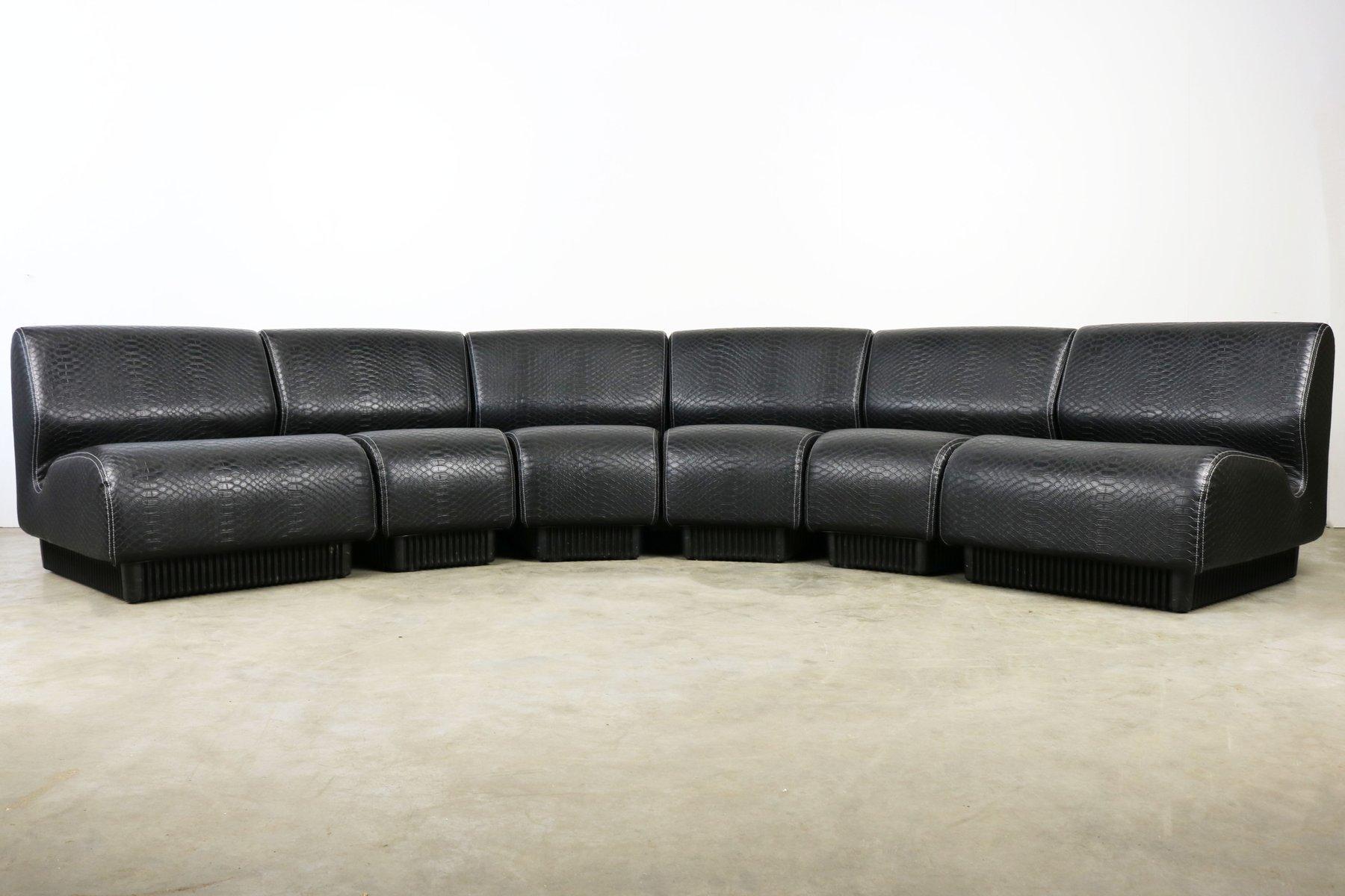 Mid Century Black Snakeskin Modular Sofa By Don Chadwick For Herman Miller,  1970s