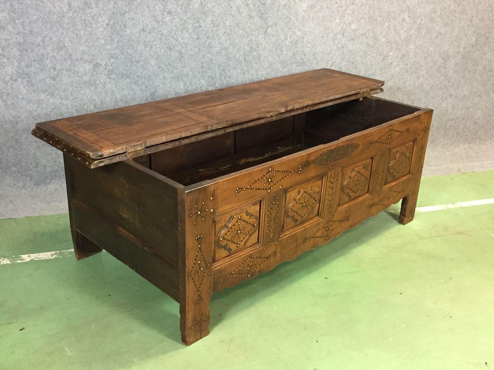 kirschholz truhe sitzbank 19 jh bei pamono kaufen. Black Bedroom Furniture Sets. Home Design Ideas