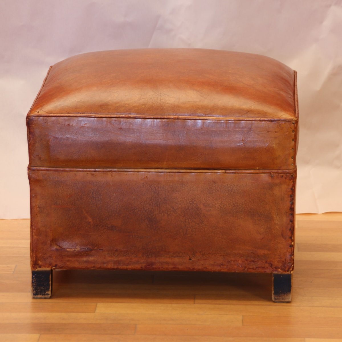 art deco french cognac leather pouf 1930s for sale at pamono. Black Bedroom Furniture Sets. Home Design Ideas