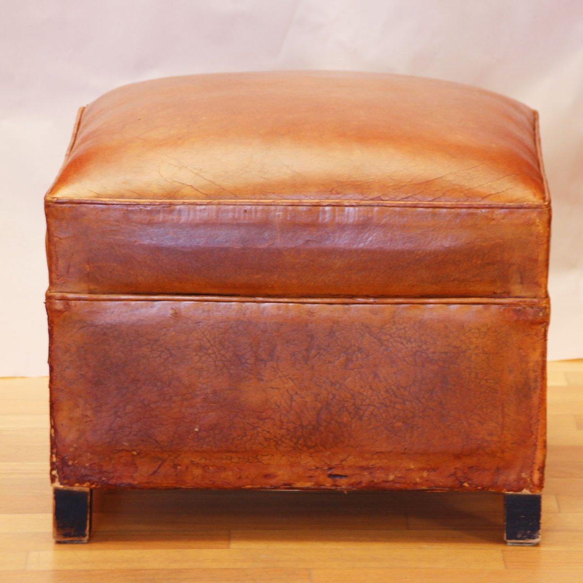 franz sischer art d co cognacfarbener leder pouf 1930er bei pamono kaufen. Black Bedroom Furniture Sets. Home Design Ideas