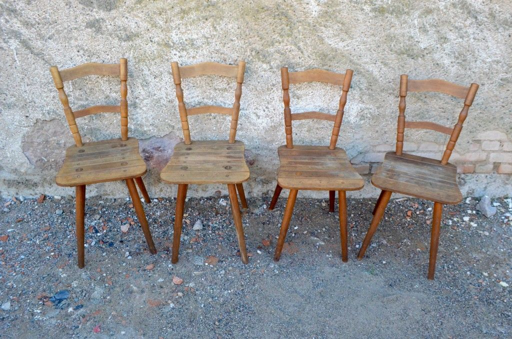 Vintage Rustic Wooden Chairs, Set Of 4
