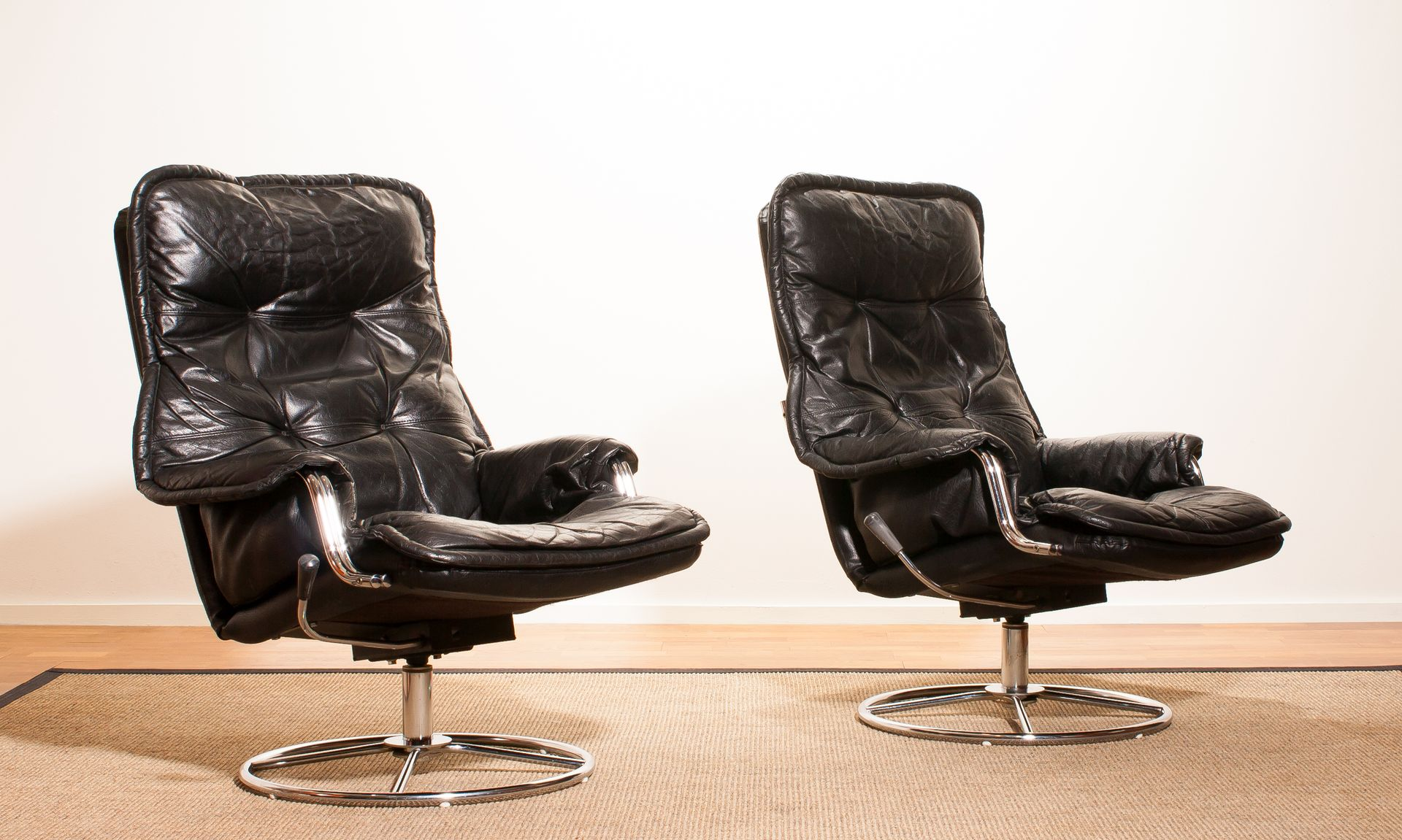 Nice Black Leather Swivel Lounge Chairs, 1970s, Set Of 2 Pictures Gallery