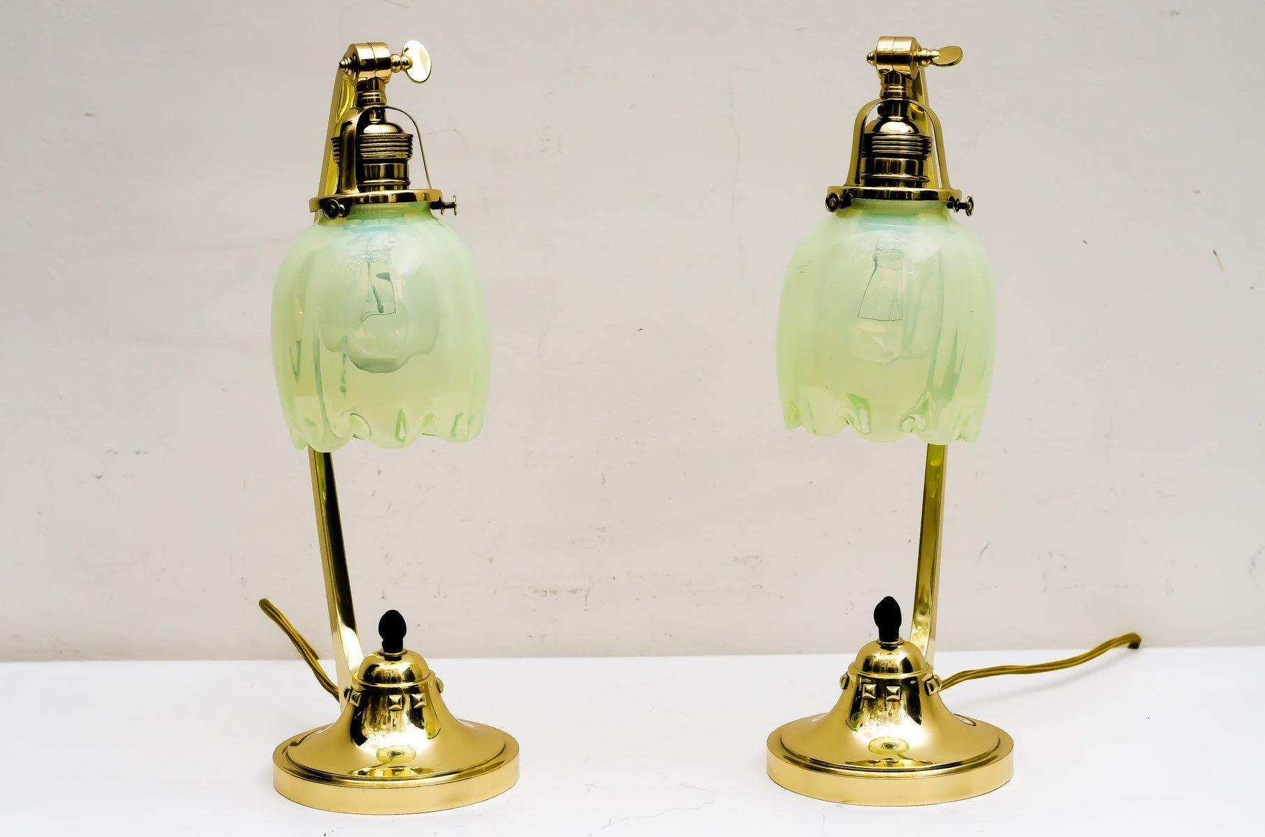 Antique art nouveau table lamps with opaline glass shades 1909 set antique art nouveau table lamps with opaline glass shades 1909 set of 2 aloadofball Gallery