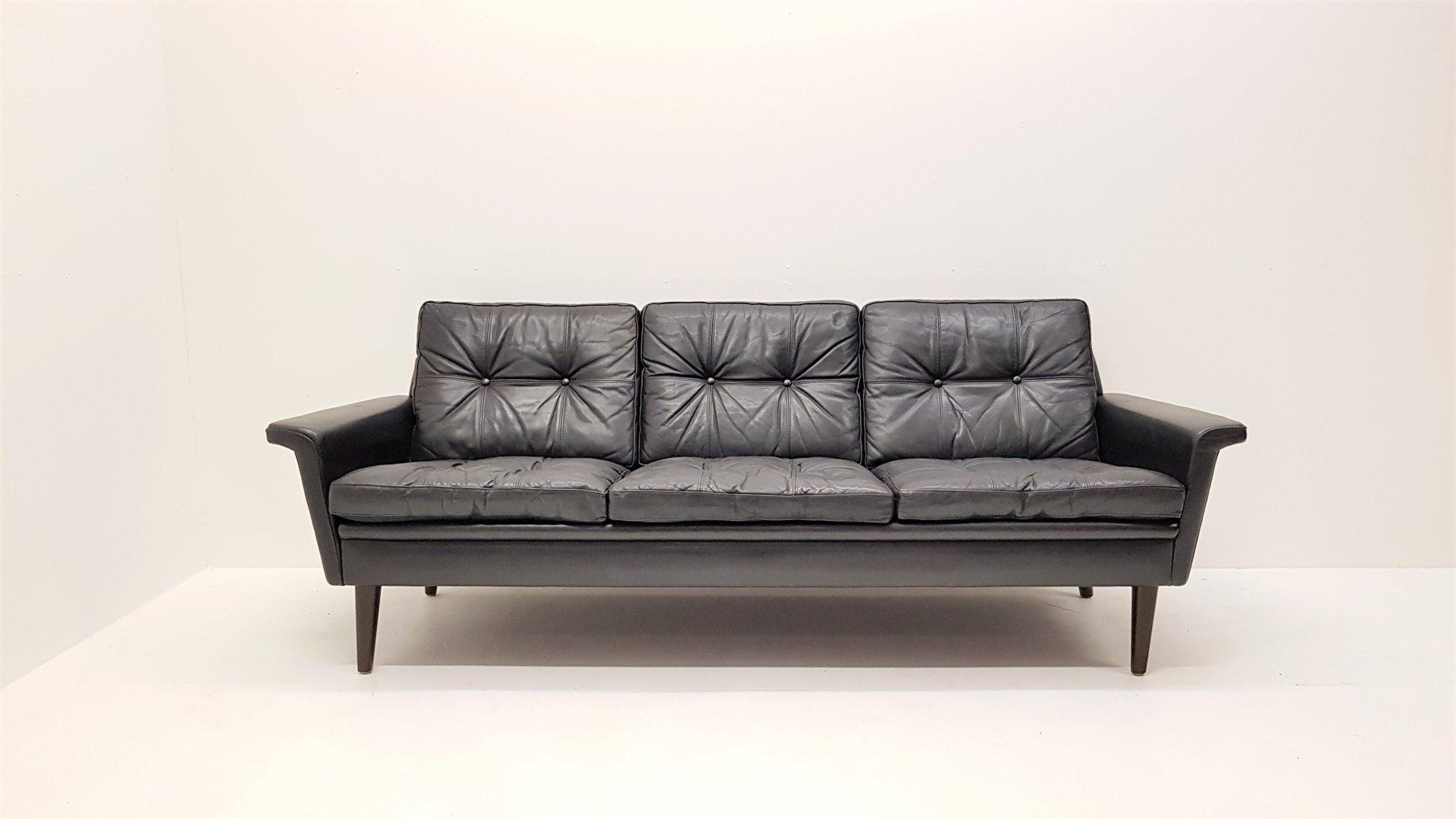 Mid Century Modern Danish 3 Seater Leather Sofa, 1960s