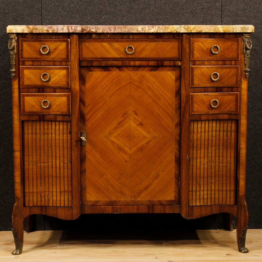 franz sisches sideboard aus holz mit vergoldeten bronze details und marmor 1920er bei pamono kaufen. Black Bedroom Furniture Sets. Home Design Ideas