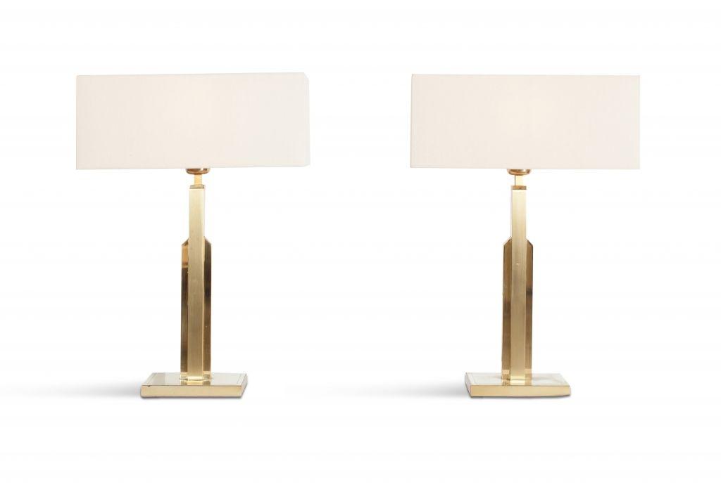 mid century lampen aus messing und wei en leinen von. Black Bedroom Furniture Sets. Home Design Ideas