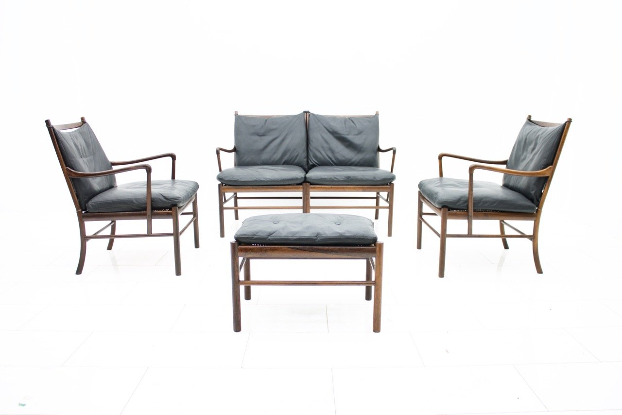 colonial sofa in rosewood and black leather by ole. Black Bedroom Furniture Sets. Home Design Ideas