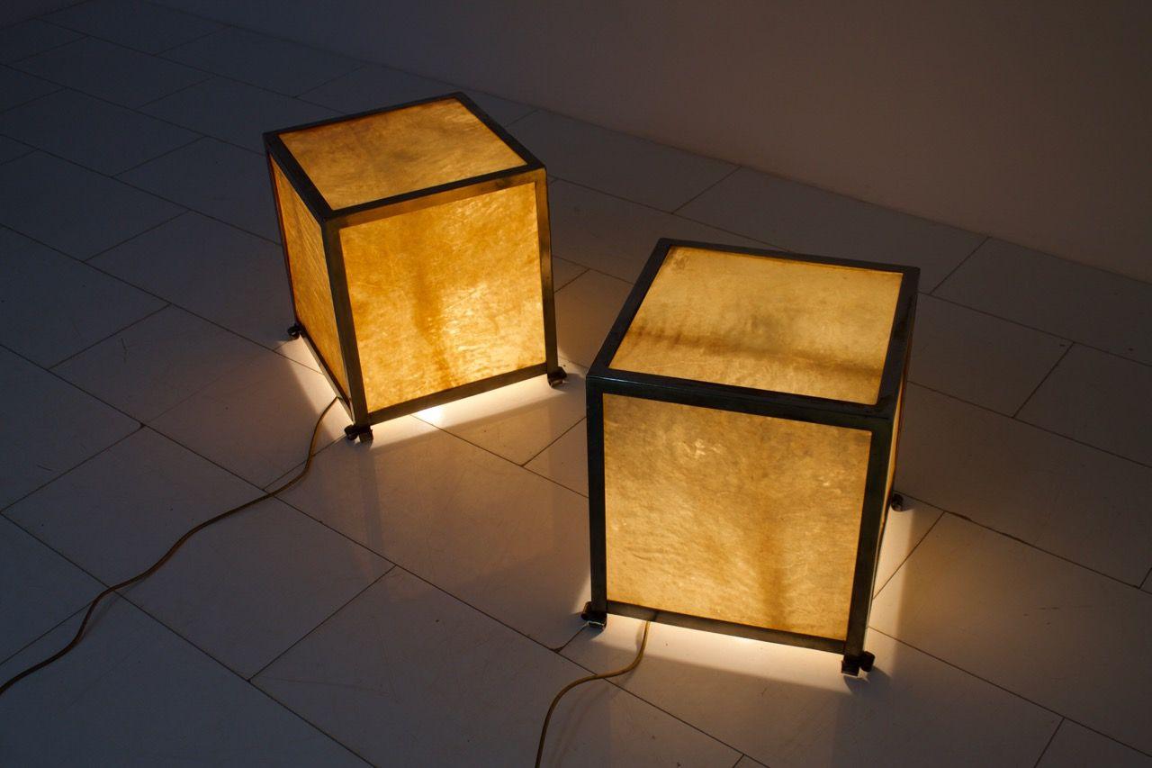 Mid-Century Goatskin Cube Floor Lamps by Aldo Tura, 1950s, Set of 2 ...