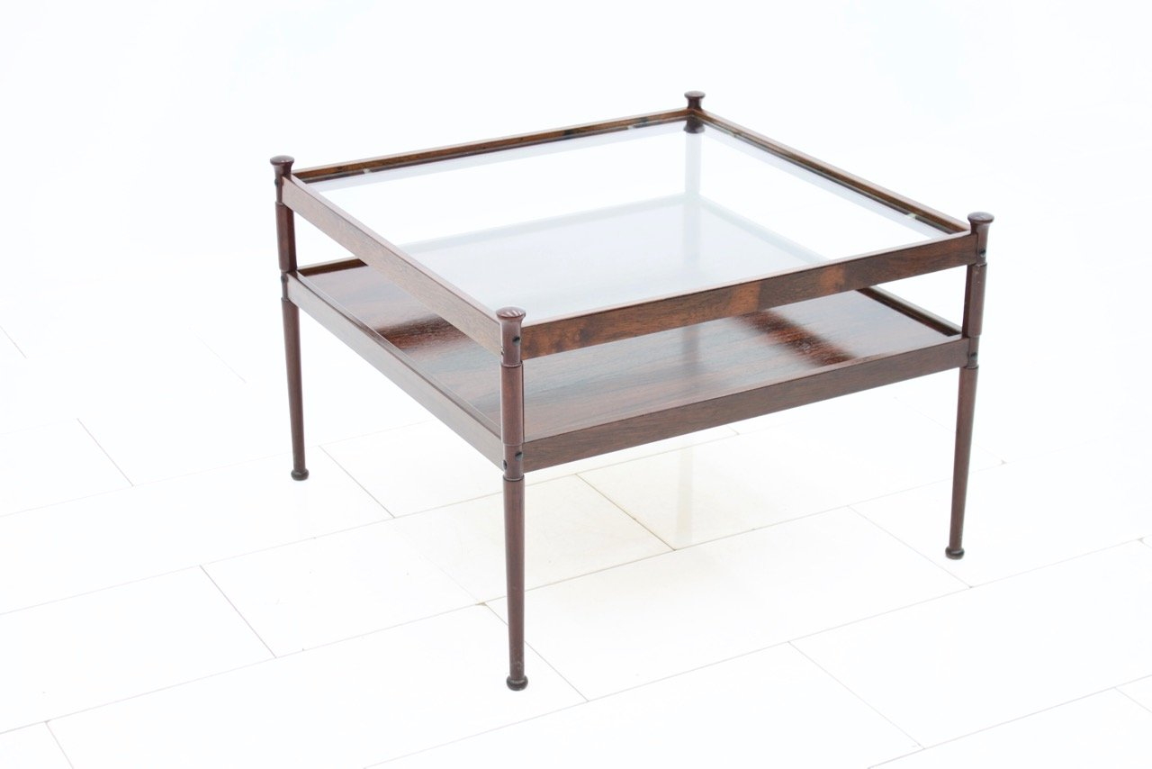 skandinavischer mid century glas und holz couchtisch 1960er bei pamono kaufen. Black Bedroom Furniture Sets. Home Design Ideas