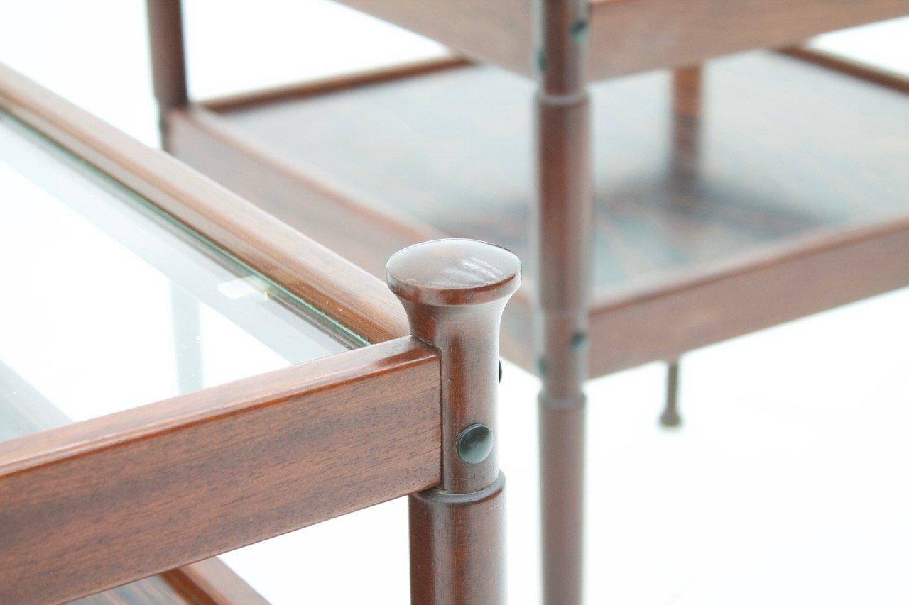 skandinavische holz und glas beistelltische 1960er 2er set bei pamono kaufen. Black Bedroom Furniture Sets. Home Design Ideas