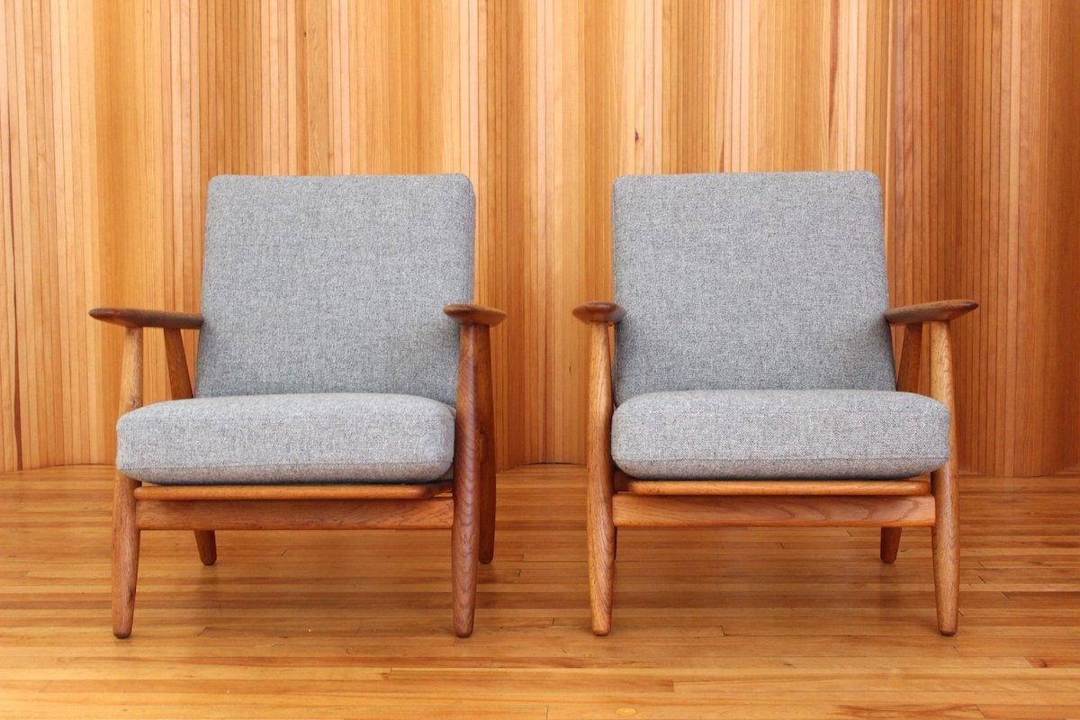 GE 240 Oak Cigar Lounge Chairs By Hans Wegner For Getama, 1955, Set Of 2