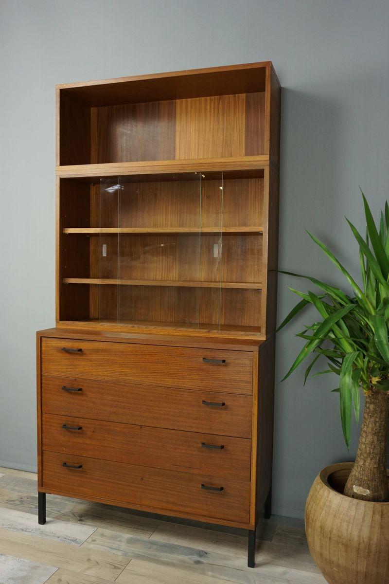 mid century teak regal mit schubladen 1950er bei pamono. Black Bedroom Furniture Sets. Home Design Ideas