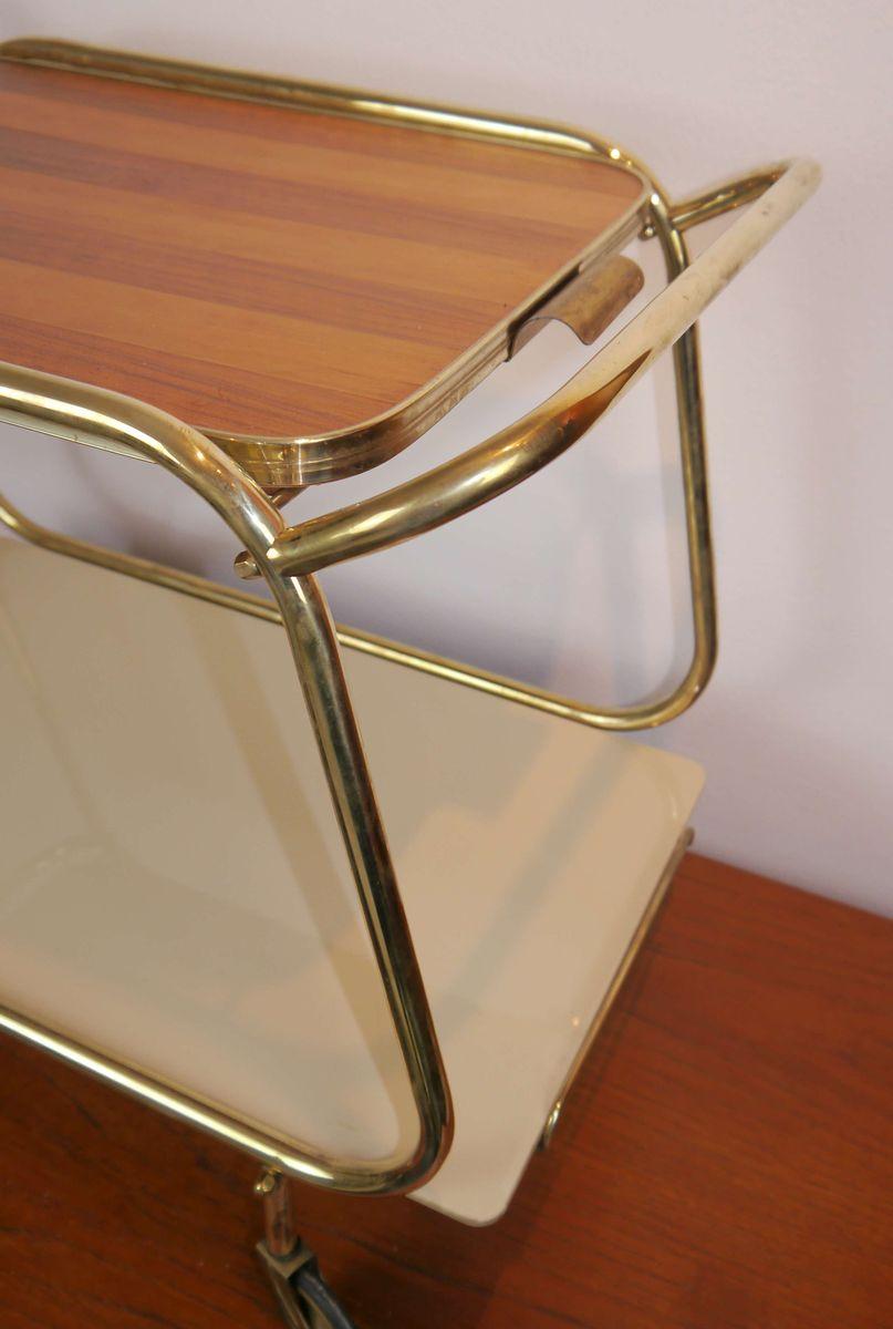 mid century messing glas servierwagen 1950er bei pamono kaufen. Black Bedroom Furniture Sets. Home Design Ideas