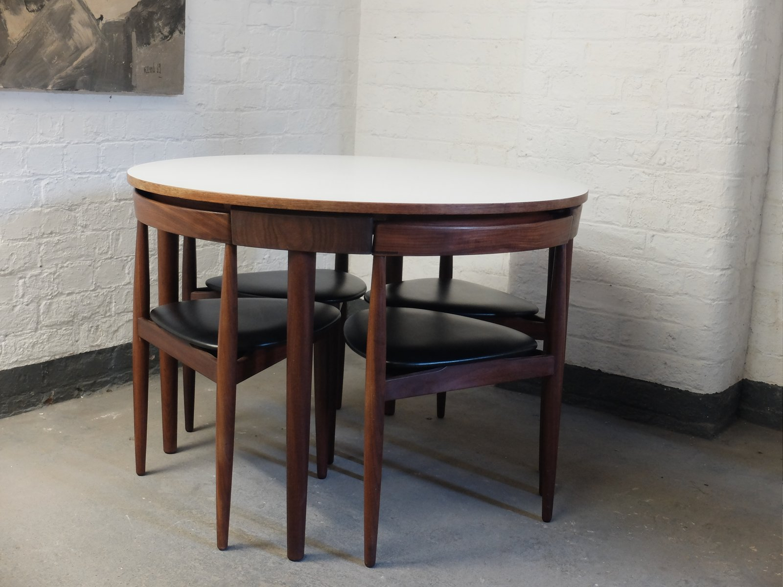 Mid Century Roundette 630 Dining Table & Chairs by Hans Olsen for
