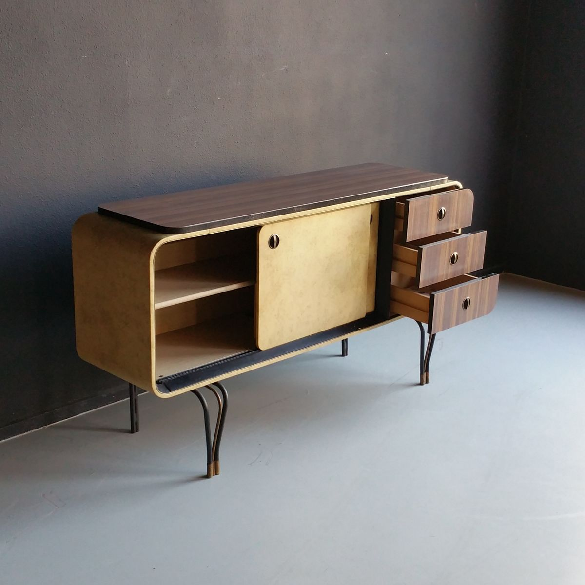 mid century formica and vinyl sideboard with wrought iron. Black Bedroom Furniture Sets. Home Design Ideas