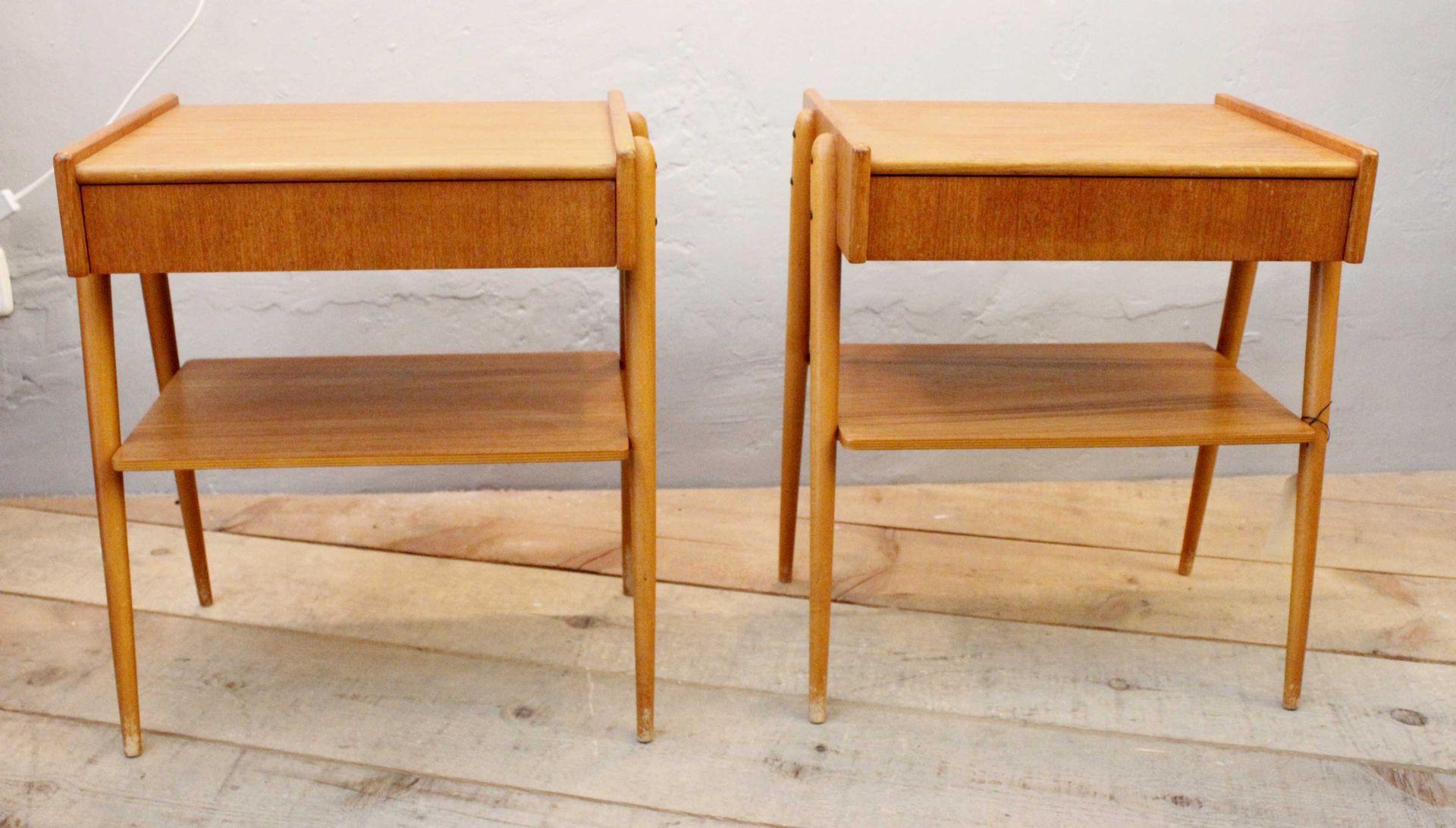 Teak Bedside Tables 1950s Set of 2 & Teak Bedside Tables 1950s Set of 2 for sale at Pamono