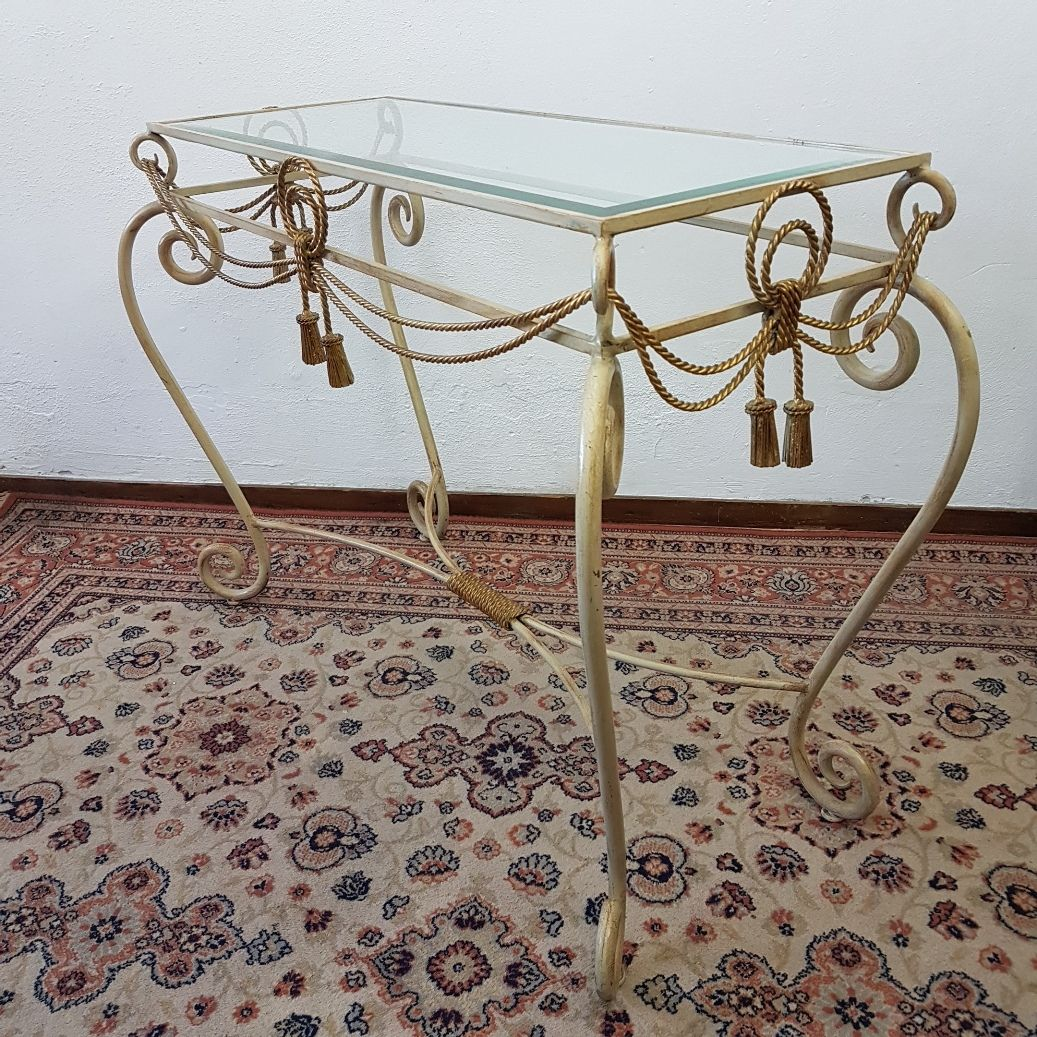 iron console table. Wrought Iron Console Table With Mirror, 1960s