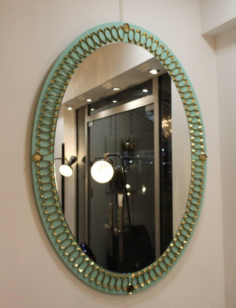 italienische spiegel aus opalglas messing 1950er 2er. Black Bedroom Furniture Sets. Home Design Ideas