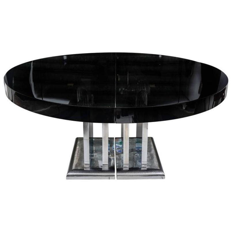 gro er schwarz lackierter esstisch 1930er bei pamono kaufen. Black Bedroom Furniture Sets. Home Design Ideas