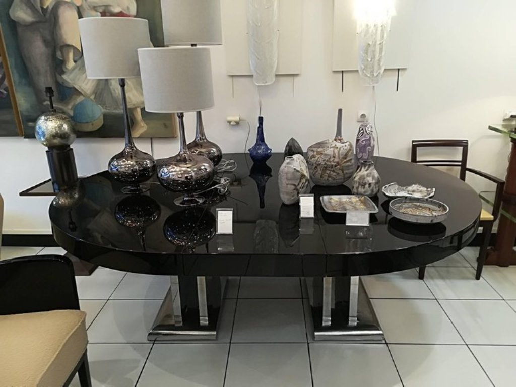 Large Black Lacquered Dining Room Table, 1930s for sale at Pamono