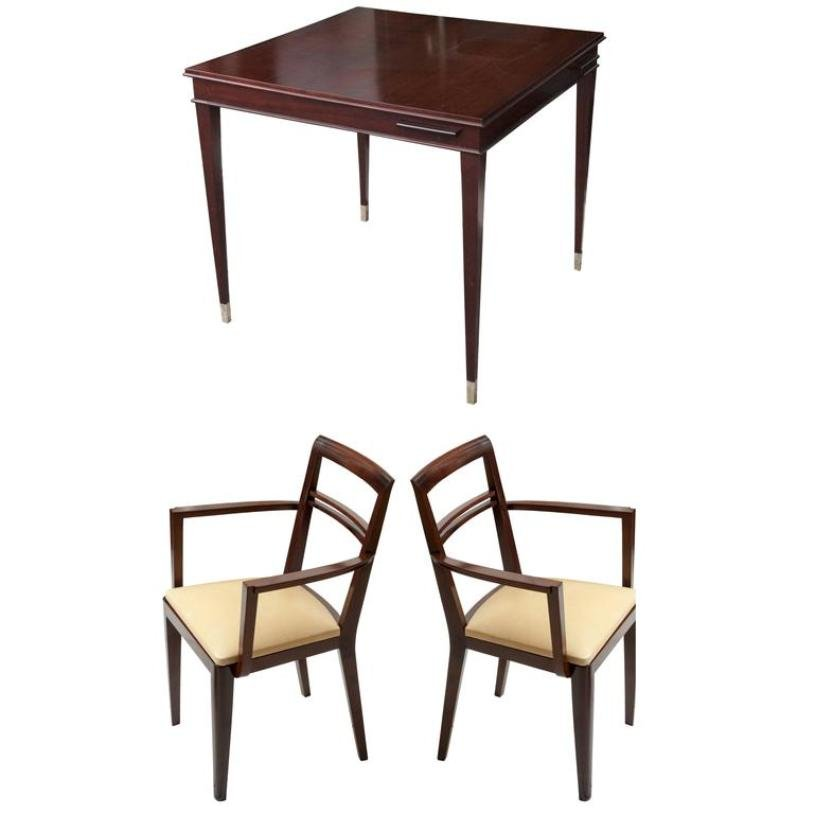 Art Deco Game Table Amp 2 Armchairs 1930s For Sale At Pamono