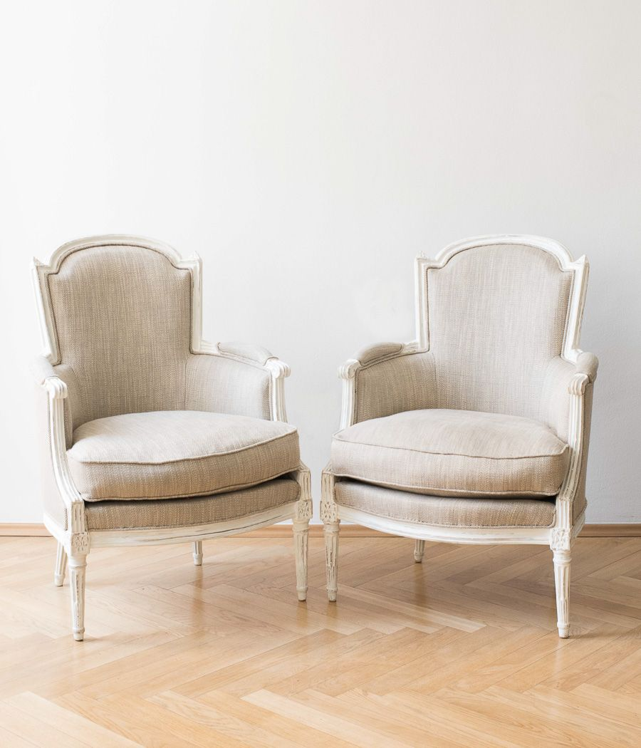 Nice Antique French Louis XVI Bergères Chairs, 1780s, Set Of 2