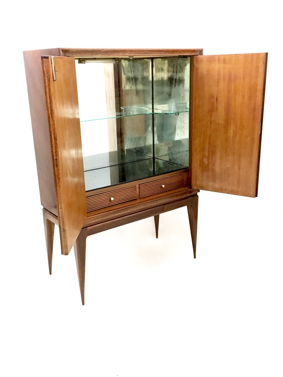 glass bar cabinet italian rosewood mirror amp glass bar cabinet 1950s for 15806