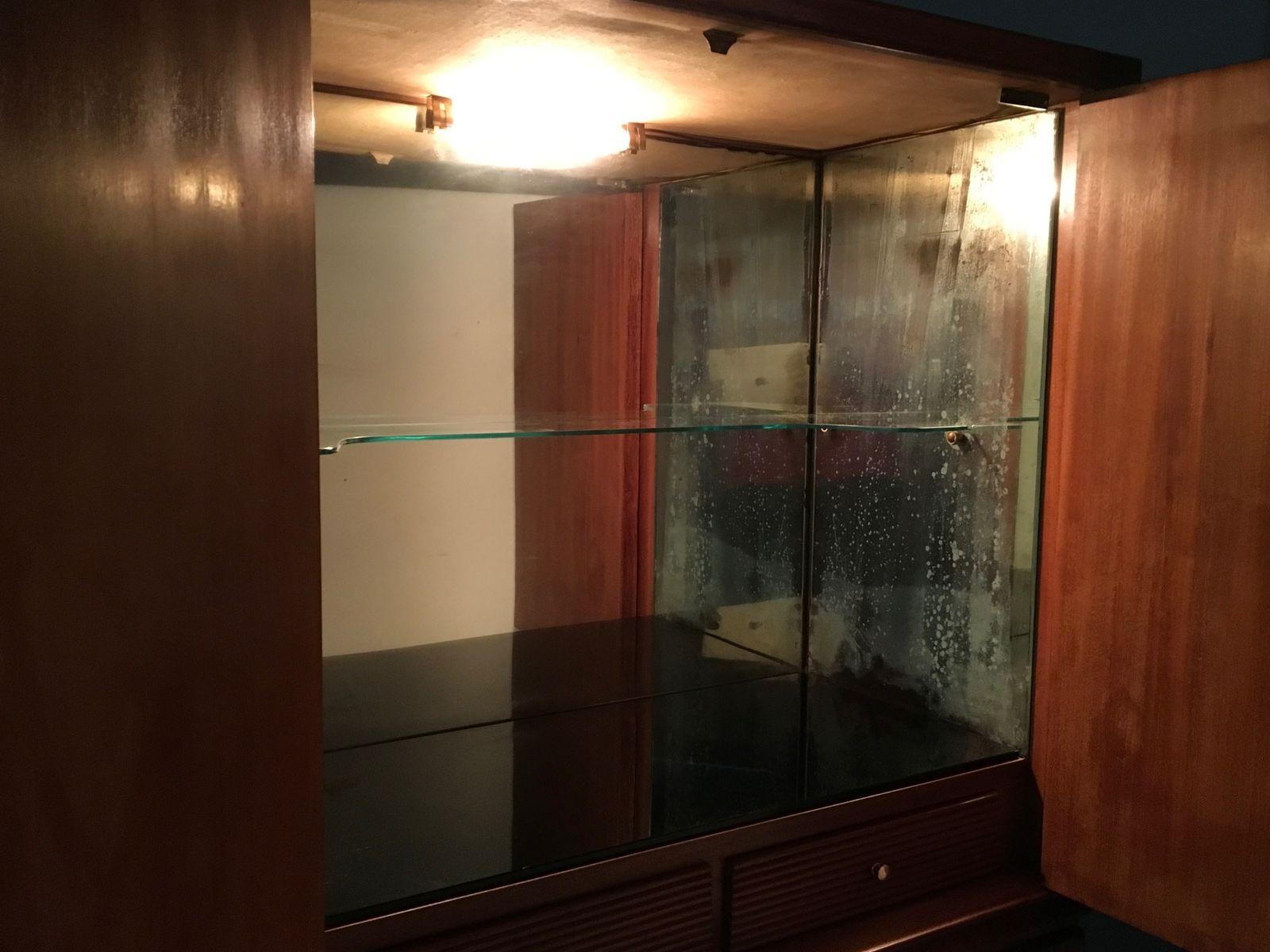 Mobile bar in palissandro specchio e vetro italia anni - Specchio anni 50 ...