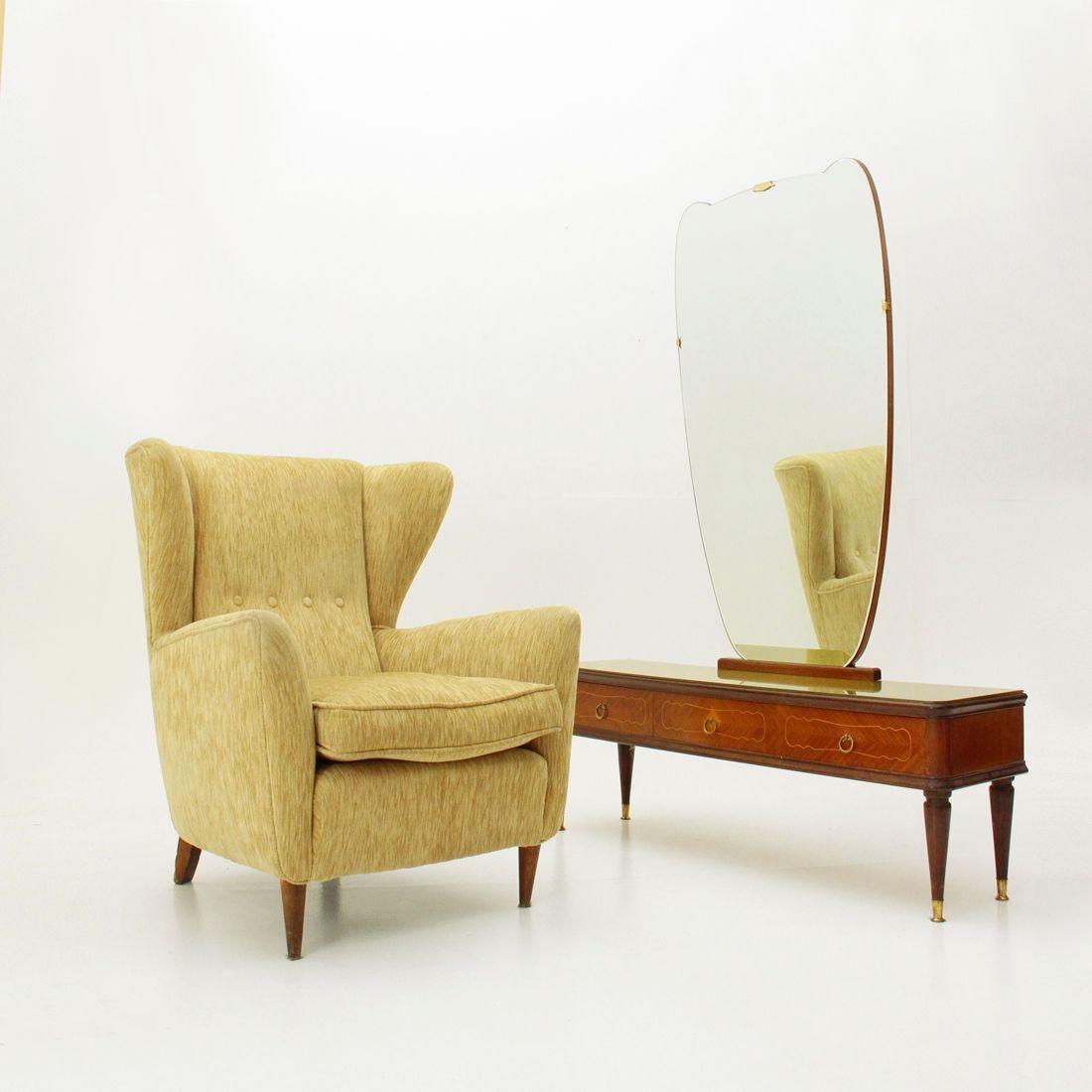 italienischer frisiertisch mit spiegel 1950er bei pamono. Black Bedroom Furniture Sets. Home Design Ideas