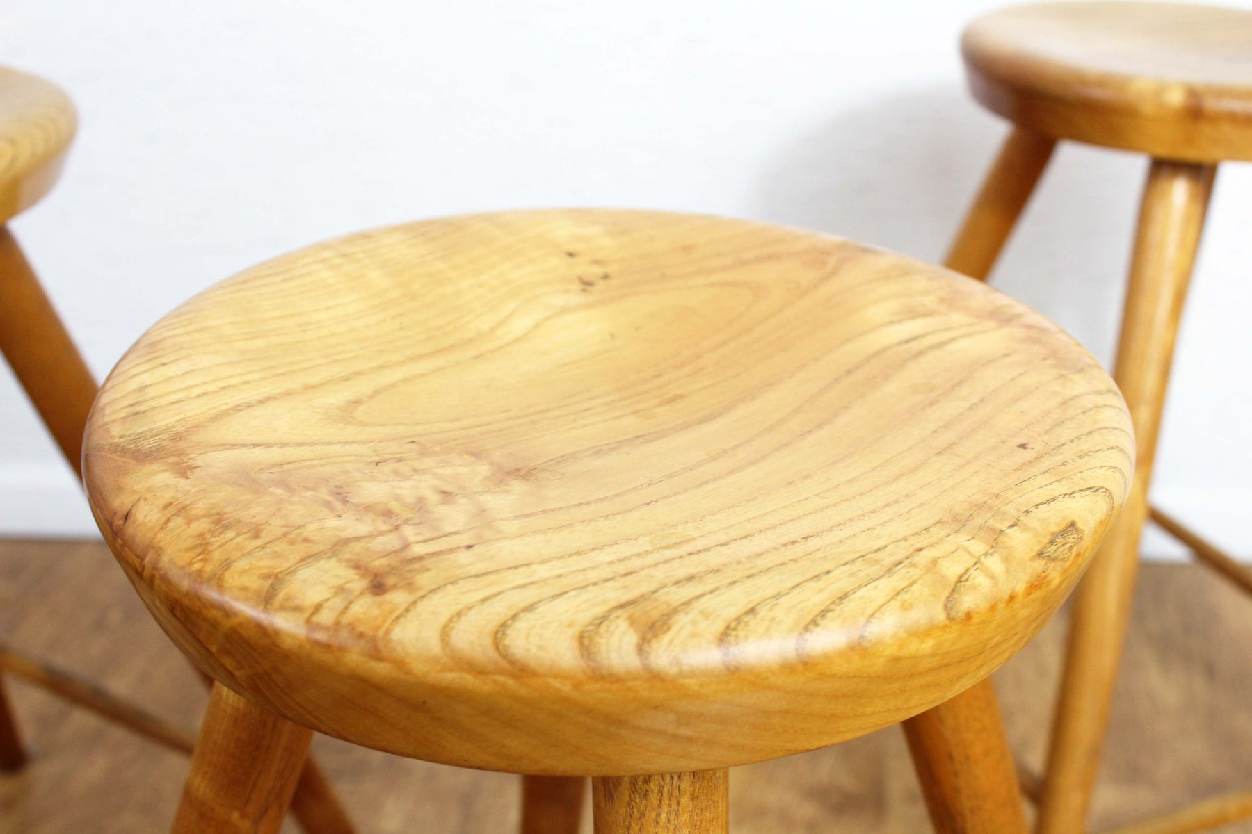Vintage Solid Wooden Stools Set Of 4 For Sale At Pamono